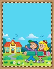 Poster Voor kinderen Children holding pencil theme parchment