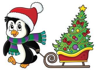 Poster Voor kinderen Christmas penguin with sledge image 1