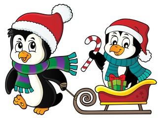 Poster Voor kinderen Christmas penguin with sledge image 2
