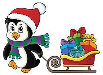Poster Voor kinderen Christmas penguin with sledge image 3