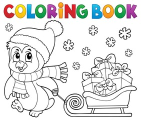 Acrylic Prints For Kids Coloring book Christmas penguin topic 9