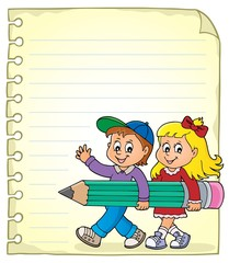 Poster Voor kinderen Notepad page with children and pencil