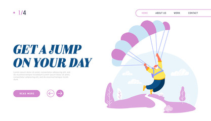 Active Senior Man Skydiver Jumping with Parachute Website Landing Page. Pensioner Sports Activity Hobby. Happy Aged Character Skydiving Extreme Sport Web Page Banner. Cartoon Flat Vector Illustration