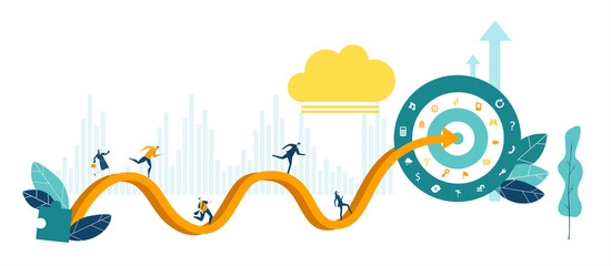 People running the long way to reach the target. Business concept illustration, modern competitive professional life.