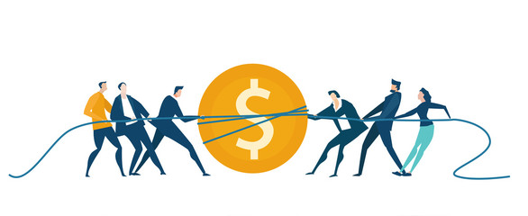 Business people pulling the dollar coin, fighting for the better deal, competing and arguing.