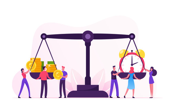 Time is Money Concept. Tiny Businesspeople Characters Put Alarm Clock and Heap of Banknotes and Coins on Huge Scales. Business and Time Management Balance, Planning. Cartoon Flat Vector Illustration