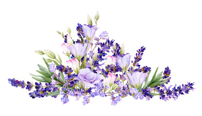 Picturesque arrangement of lavender and bluebells hand drawn in watercolor isolated on a white background. Floral watercolor illustration. Ideal for creating invitations, greeting and wedding cards.