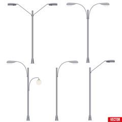 Set of Street Light Lamp post. Sample Urban Lamppost models. Used light bulbs and LEDs. Urban Equipment Lantern Element. Vector Illustration isolated on white background