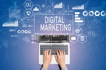 Digital marketing with person using a laptop computer Wall mural