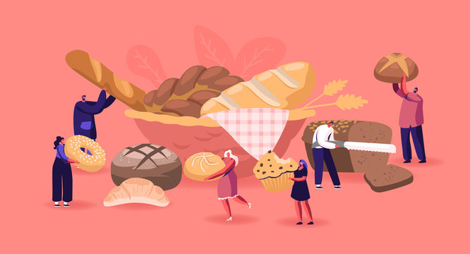 People Eating and Cooking Bakery Concept. Tiny Male and Female Characters Presenting Homemade Bread and Wide Choice of Fresh Baked and Pastry Production for Purchase. Cartoon Flat Vector Illustration