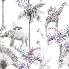 Beautiful vector african safari animal tropical seamless pattern. Trendy style. Print with elephants and giraffe.