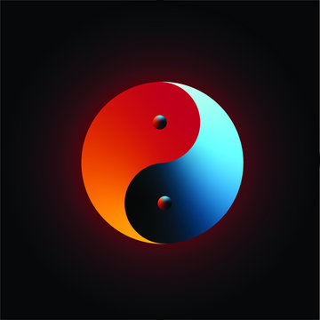 Yin-Yang dark orange and blue colours with dark red aura in black background,  Vector illustration, Yin and Yang symbol of harmony and balance