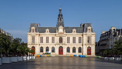 Poitiers, Nouvelle-Aquitaine, France. City hall Hotel de Ville and Place du Marechal Leclerc in Poitiers.