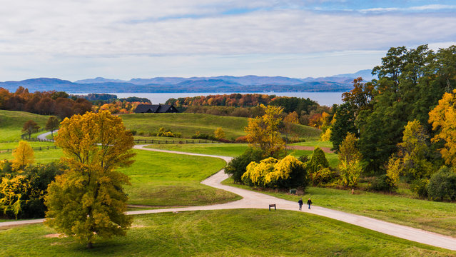 view of Lake Champlain and the Adirondack Mountains in New York from Shelburne Farms in Vermont