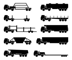 set of silhouettes the cargo trucks.