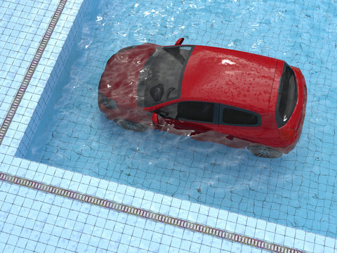 car drowned in a swimming pool