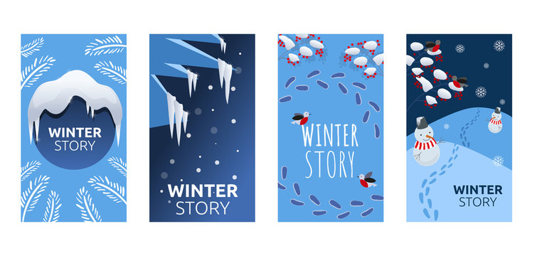 Set of abstract winter backgrounds for social media stories. Colorful winter banners with snowy scenes. Best for banner, flyer, invitation, discount voucher, ad. Vector eps 10