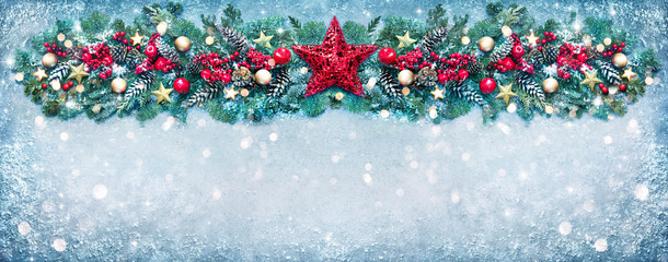 Wall Mural - Christmas background with fir branches and holiday decoration