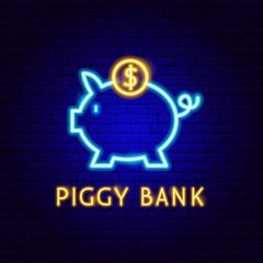 Piggy Bank Neon Label