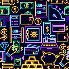 Money Neon Seamless Pattern