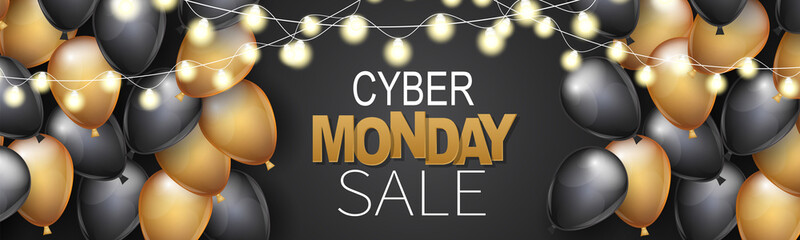 Cyber Monday Sale header or banner design template. Big discount advertising promo concept with balloons, glowing lights garland and typography text. Website or magazine decoration.