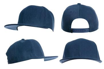 Obraz Set of blue cap on white background isolation - fototapety do salonu