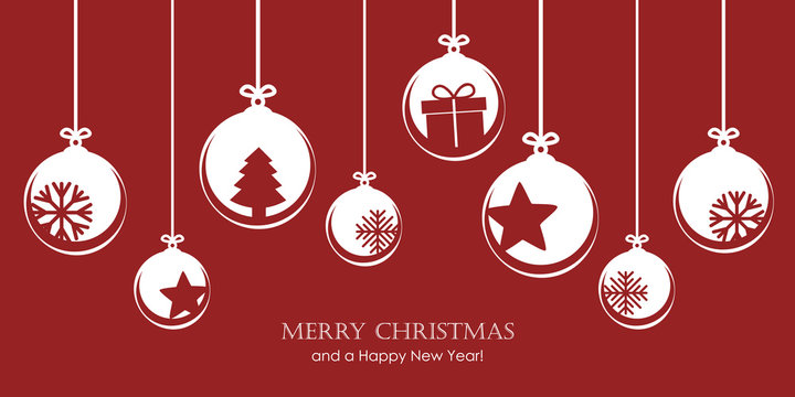 red christmas card with bauble decoration snowflakes stars and gift vector illustration EPS10