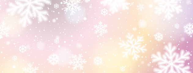Wall Mural - Christmas banner with white blurred snowflakes. Merry Christmas and Happy New Year greeting banner. Horizontal new year background, headers, posters, cards, website. Vector illustration