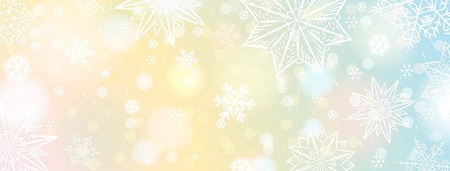 Wall Mural - Christmas banner with white snowflakes. Merry Christmas and Happy New Year greeting banner. Horizontal new year background, headers, posters, cards, website. Vector illustration