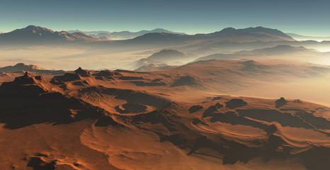 Sunset on Mars. Desert martian landscape
