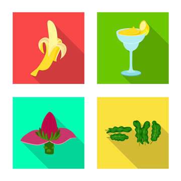 Vector design of natural and vegetarian logo. Collection of natural and eating vector icon for stock.