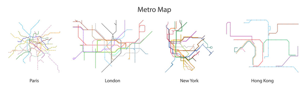 Map of subway vector black set icon.Vector illustration line metro on white background.Isolated icon city of map subway.