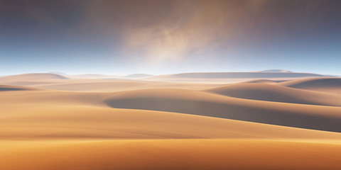 Sand dunes and dust storm in the desert, hot and dry desert landscape Wall mural