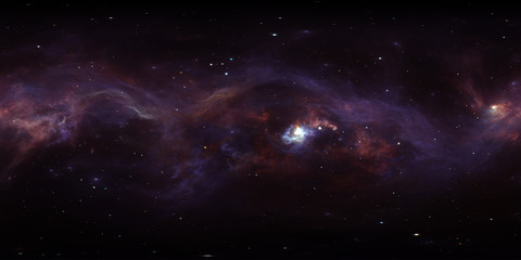 360 degree space nebula, equirectangular projection, environment map. HDRI spherical panorama. Space background with nebula and stars