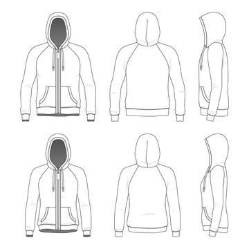 Clothing set of raglan hoodie.