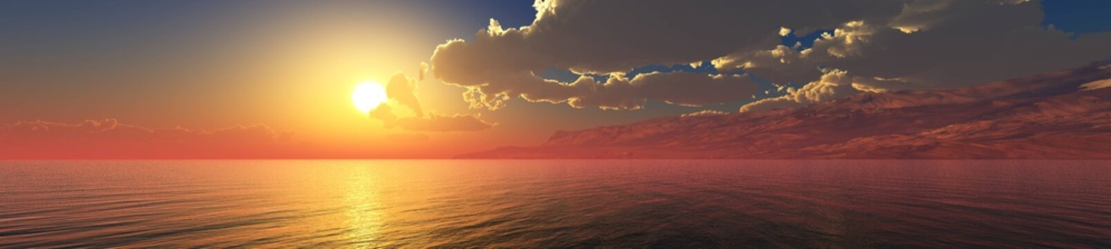 panorama of the ocean sunset, sea sunset, the sun in the clouds over the water, 3D rendering