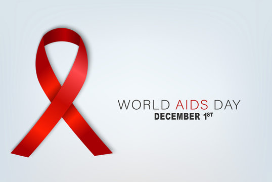 World AIDS day banner. Realistic red awarness ribbon. Vector illustration.