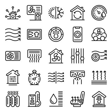 Climate control systems icons set. Outline set of climate control systems vector icons for web design isolated on white background