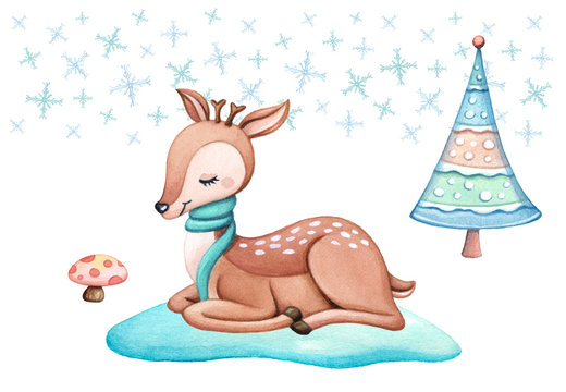 Cute winter animal in the forest. Christmas background with little deer, Christmas tree and snow flakes. Baby reindeer for nursery, child designs, seasonal cards. Watercolor hand painted illustration.