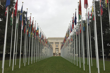 united Nations in Geneva entrance flags in mat