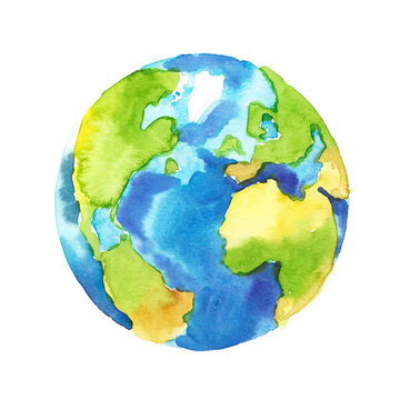 Watercolor hand painted planet Earth isolated on white background. Symbol of life, nature, foundation, ecology, international events. Hand drawn watercolour paint