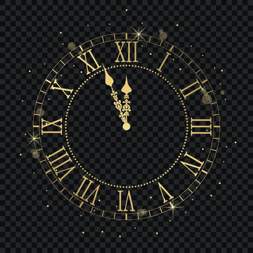 Gold vintage clock with Roman numeral and countdown midnight, eve for New Year. Golden wall clock-face dial at transparent background. Vector illustration.