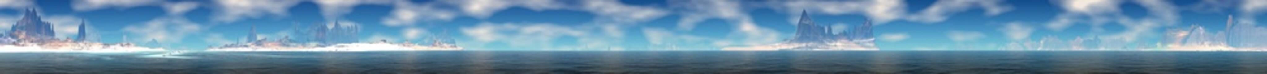 Foto auf Leinwand Blau Alien Planet. Mountain and lake. Panorama. 3D rendering