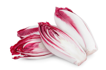 red chicory or radicchio isolated on white background