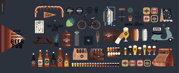 Brewery, craft beer pub -small business graphics - pub elements -modern flat vector concept illustrations -draught beer tank, tower, casks, brewery components, bar interior, logo, hop, wheat, scooter