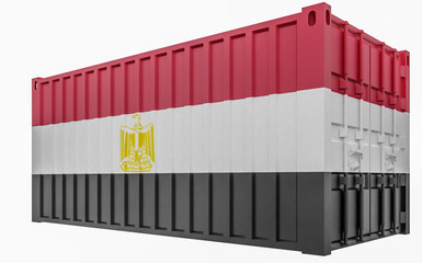 3D Illustration of Cargo Container with Egypt Flag