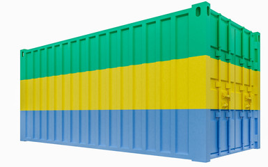 3D Illustration of Cargo Container with Gabon Flag