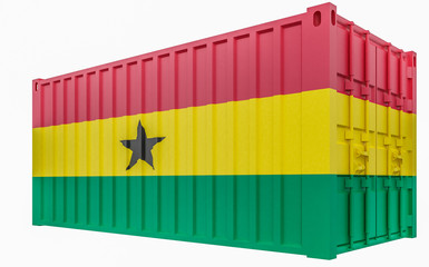 3D Illustration of Cargo Container with Ghana Flag