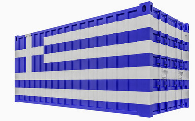 3D Illustration of Cargo Container with Greece Flag