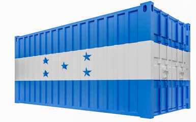 3D Illustration of Cargo Container with Honduras Flag